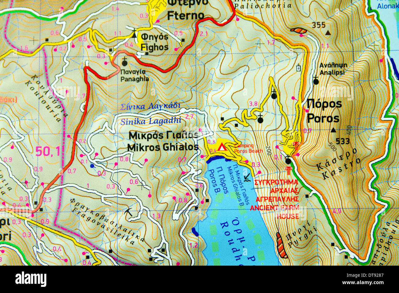 Poros Greece Map.Close Up Detail Of Map Of Meganisi Island Ionian Islands Greece
