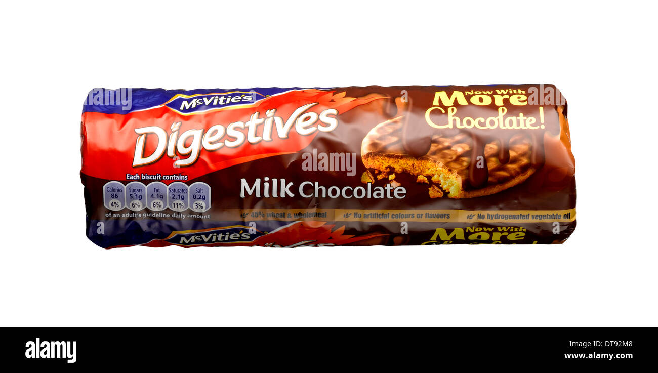 A cut out shot of a packet of chocolate digestives. - Stock Image