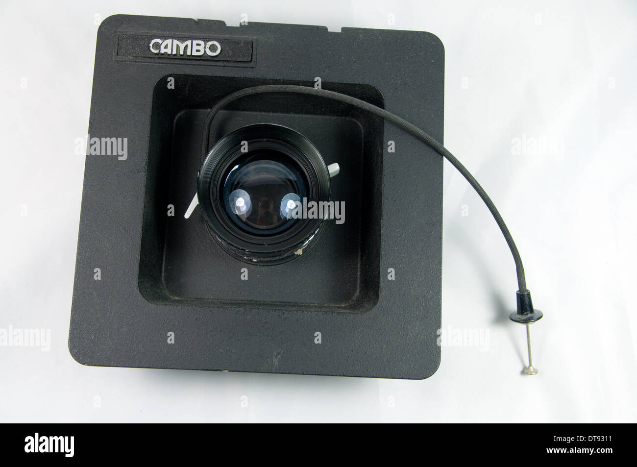 150mm large format photographic lens in recessed Cambo lens panel. - Stock Image