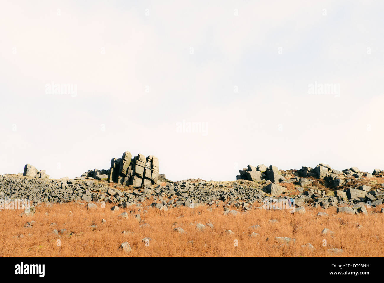 landscape of Curbar Edge with yellow grass in foreground, rocks and boulders. - Stock Image