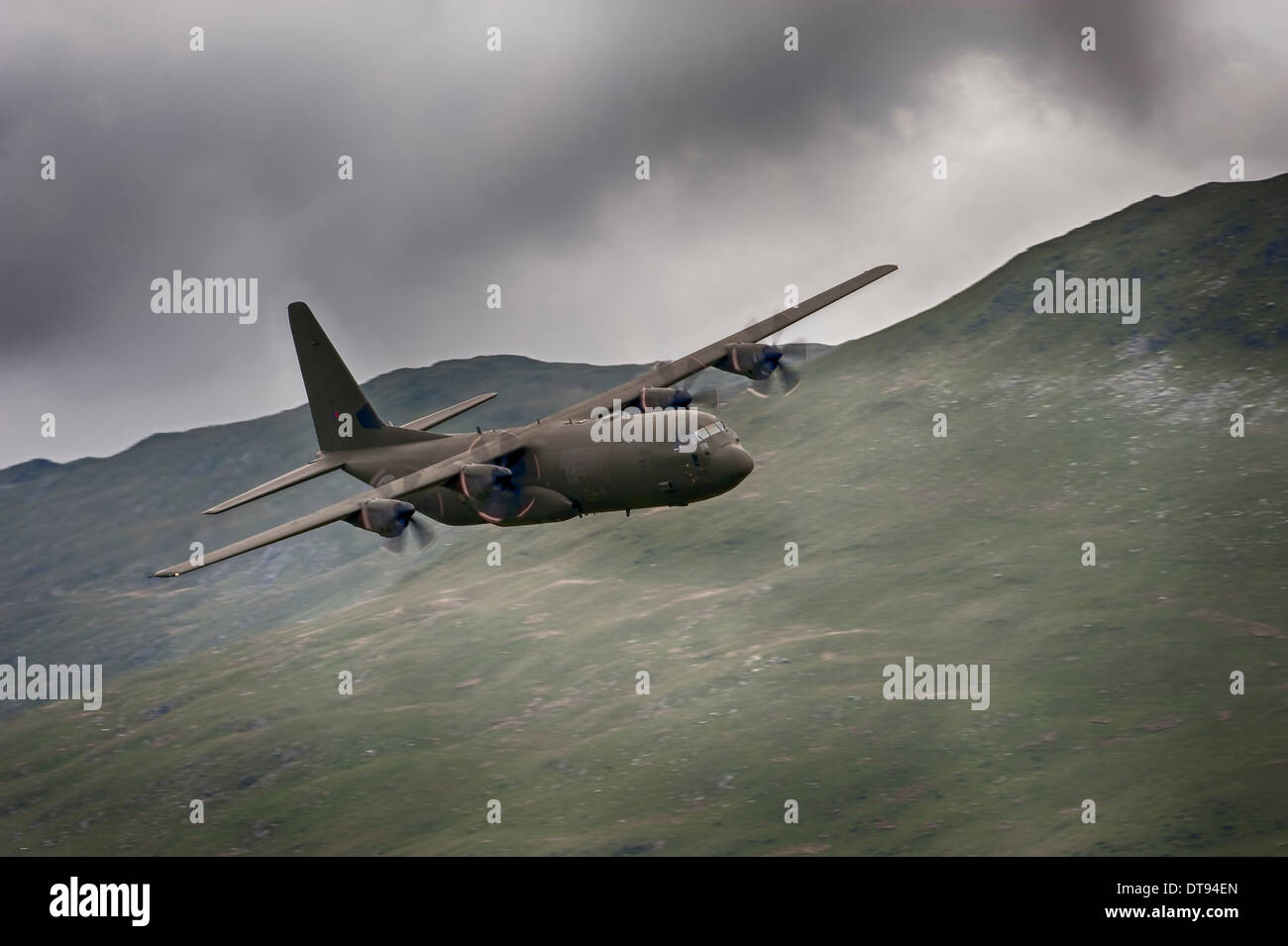 C-130 Hercules tactical transport aircraft, mach loop - Stock Image