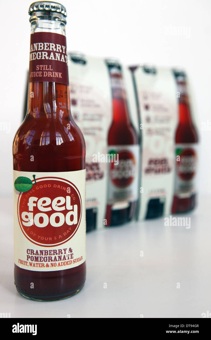 Feel Good cranberry and pomegranate water fruit drink - Stock Image