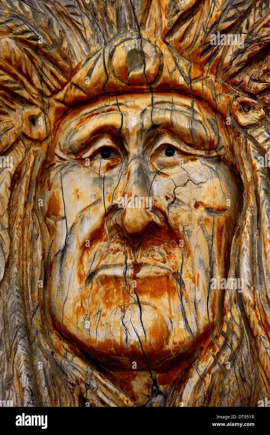 Wood carving of a Native Indian chief. Sedona. Arizona. USA - Stock Image