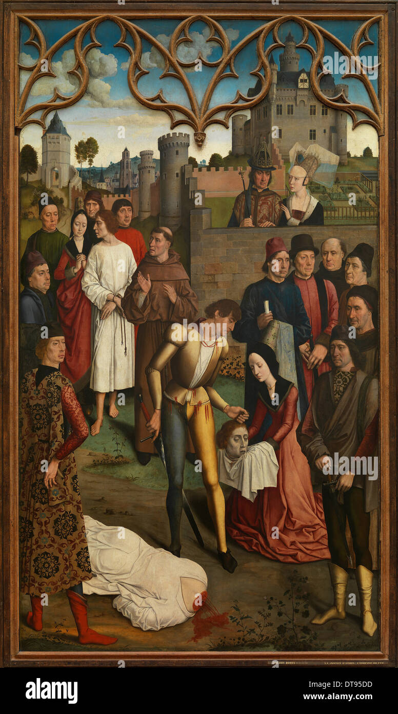 The Justice of Emperor Otto III: Beheading of the Innocent Count, 1471-1475. Artist: Bouts, Dirk (1410/20-1475) - Stock Image