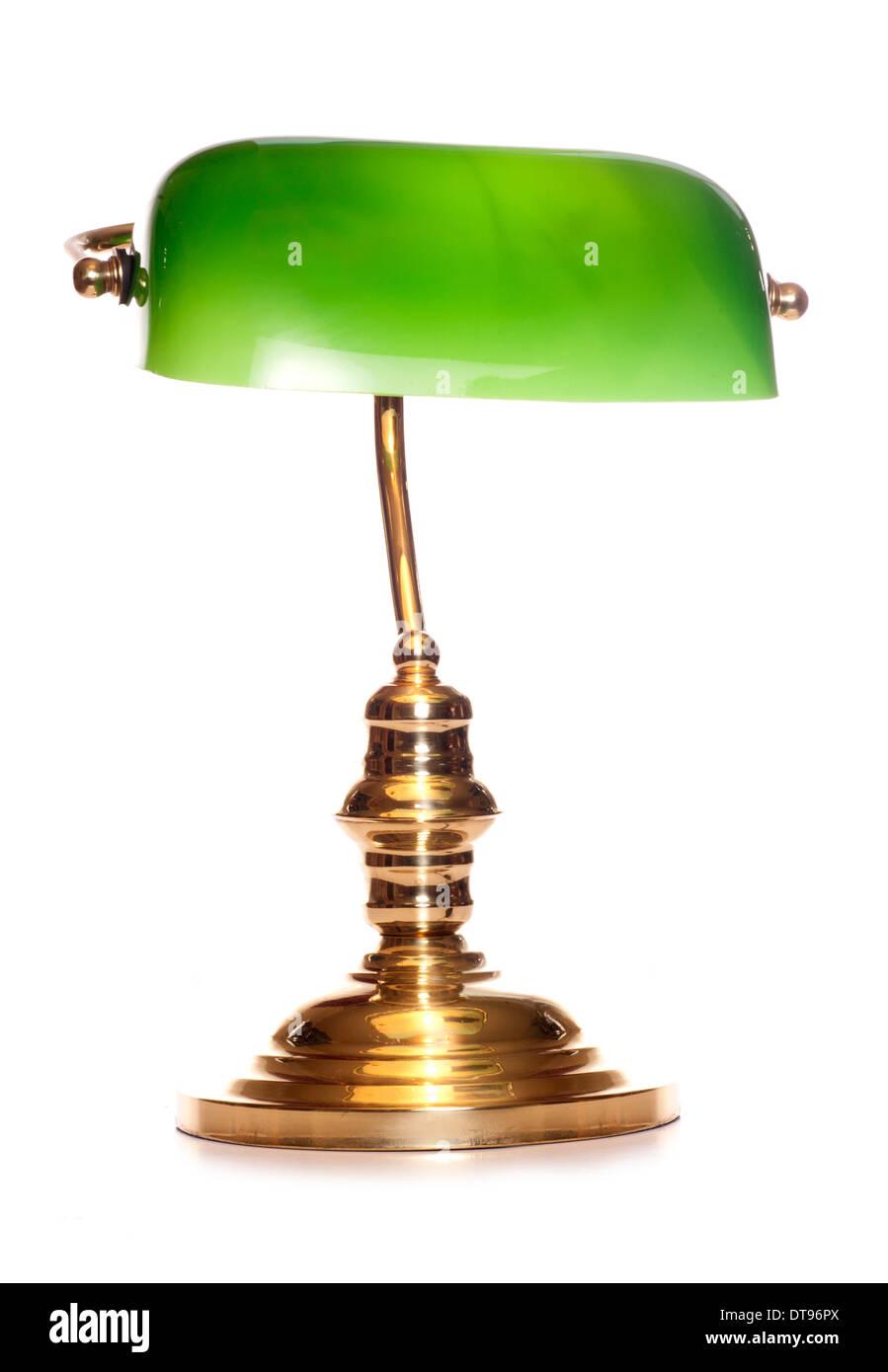 green bankers lamp studio cutout - Stock Image