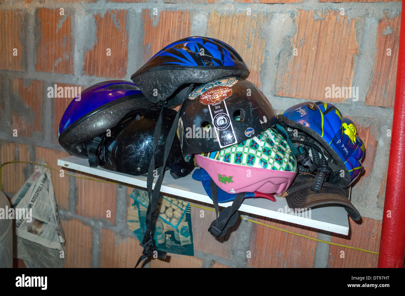 Storage Shelf Of Bicycle Safety Helmets. Zawady Central Poland