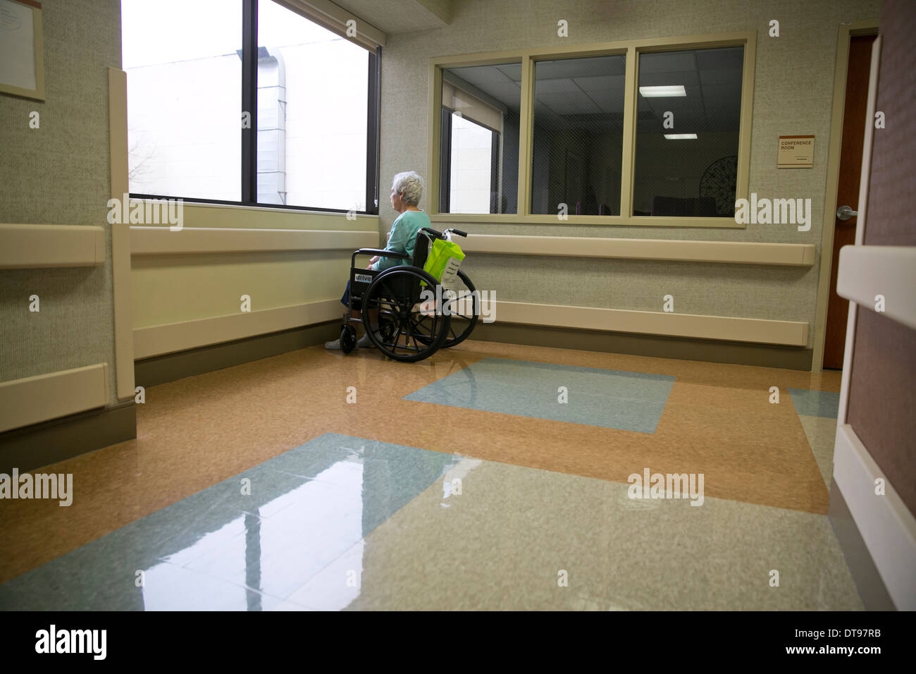 Elderly Hispanic woman in a wheelchair sits alone and looks out the window of rehabilitation hospital in Texas - Stock Image