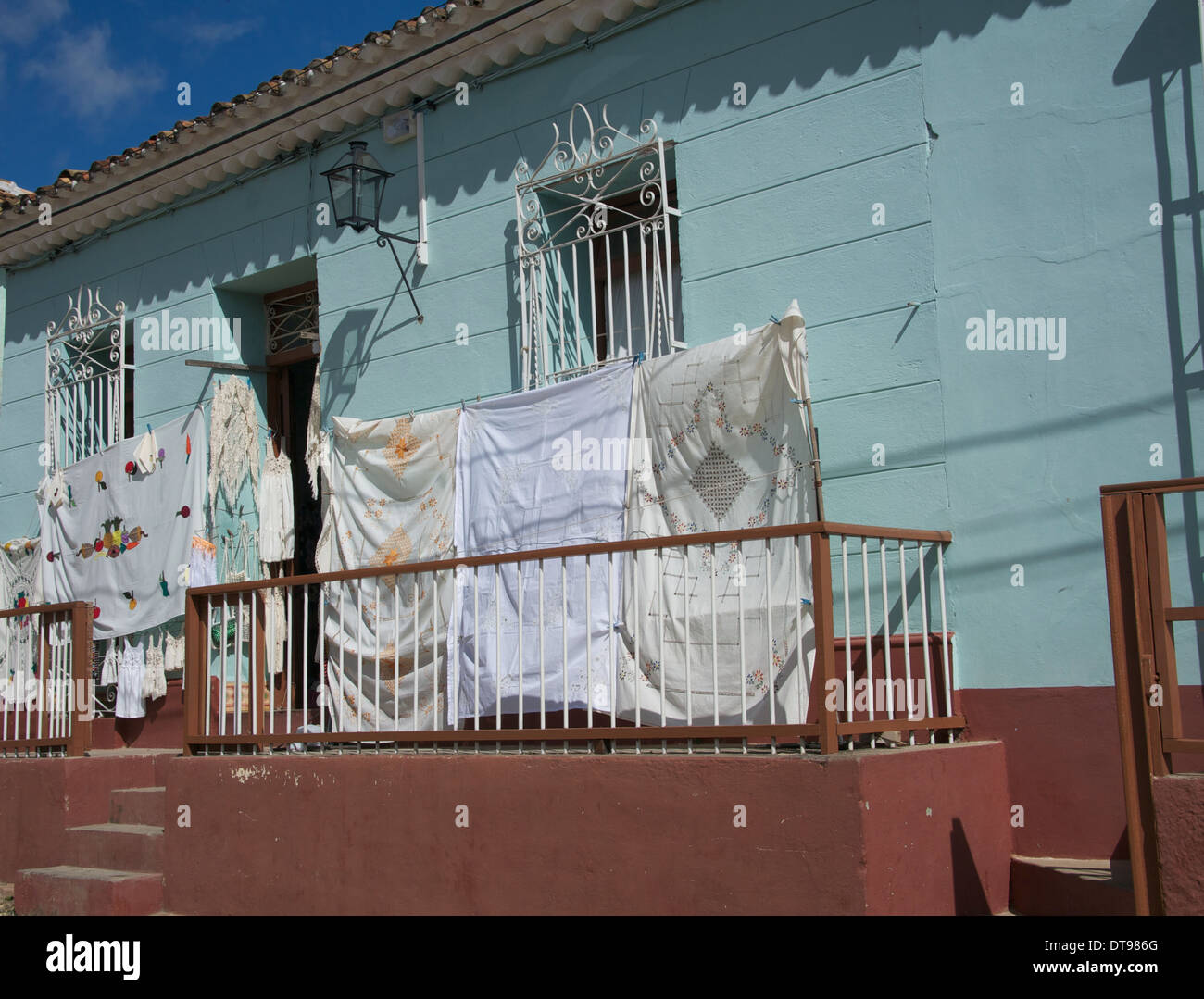 Hand-made tablecloths for sale, Trinidad, Cuba - Stock Image