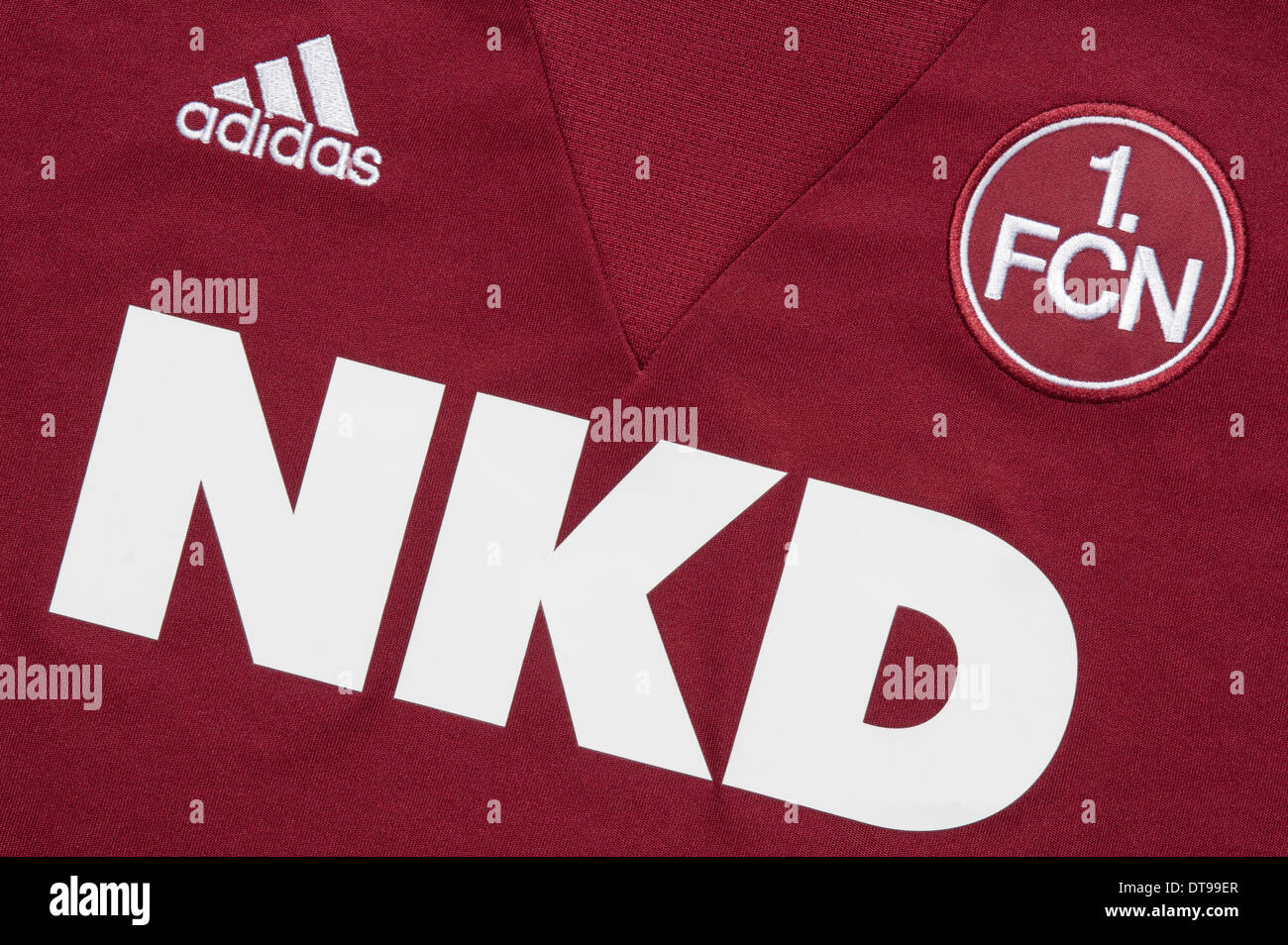 Close up of the FC Nürnberg football team kit - Stock Image