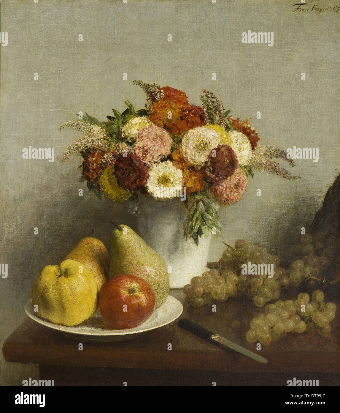 Flowers and Fruit, 1865. Artist: Fantin-Latour, Henri (1836-1904) - Stock Image