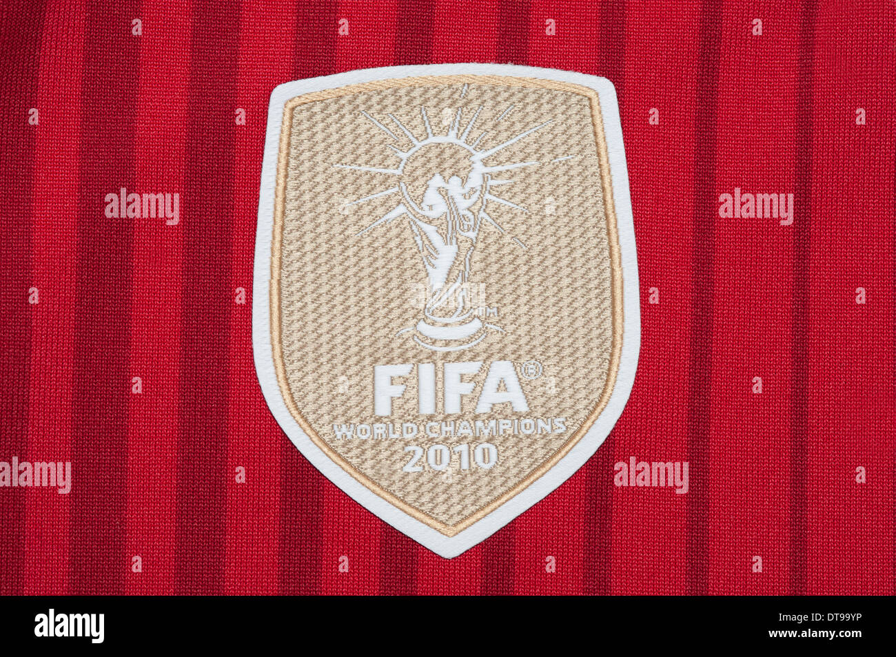 Close up of a FIFA World Champions Badge as seen on the Spanish National team kit - Stock Image