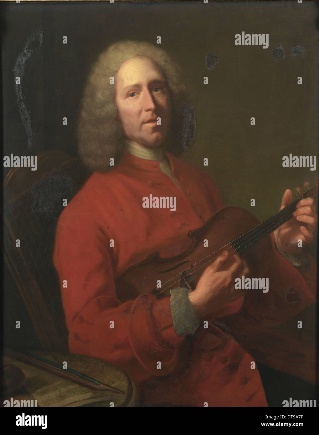 Portrait of the composer Jean-Philippe Rameau (1683-1764), 1728. Artist: Aved, Jacques-Andrè Joseph (1702-1766) - Stock Image
