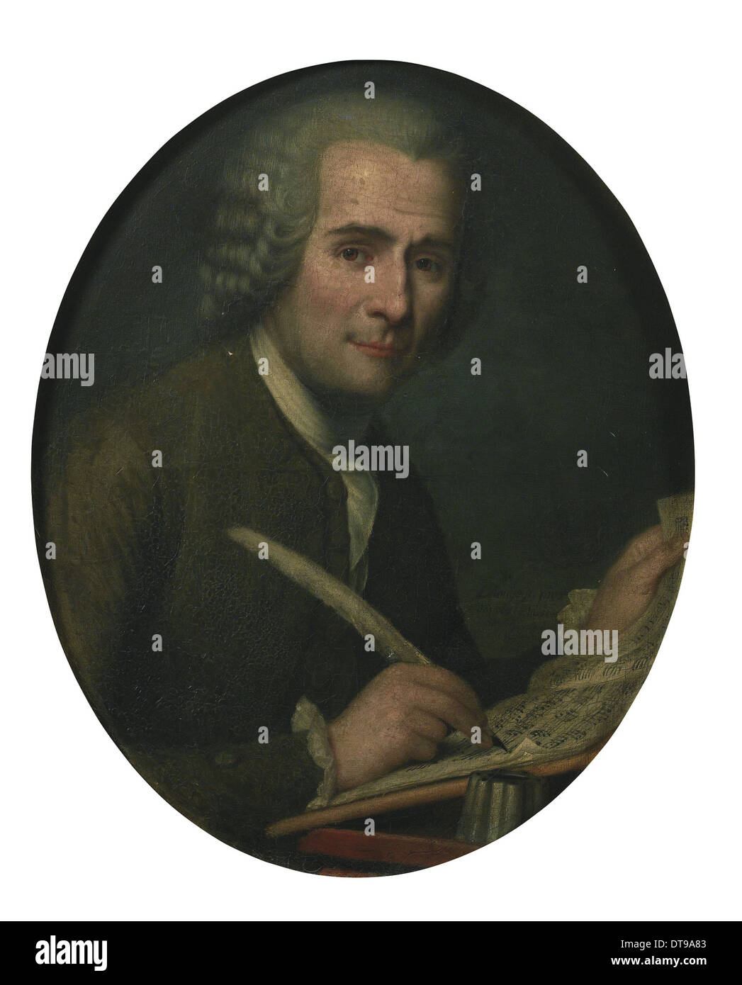 Jean-Jacques Rousseau (1712-1778) writing a sheet music. Artist: Anonymous - Stock Image