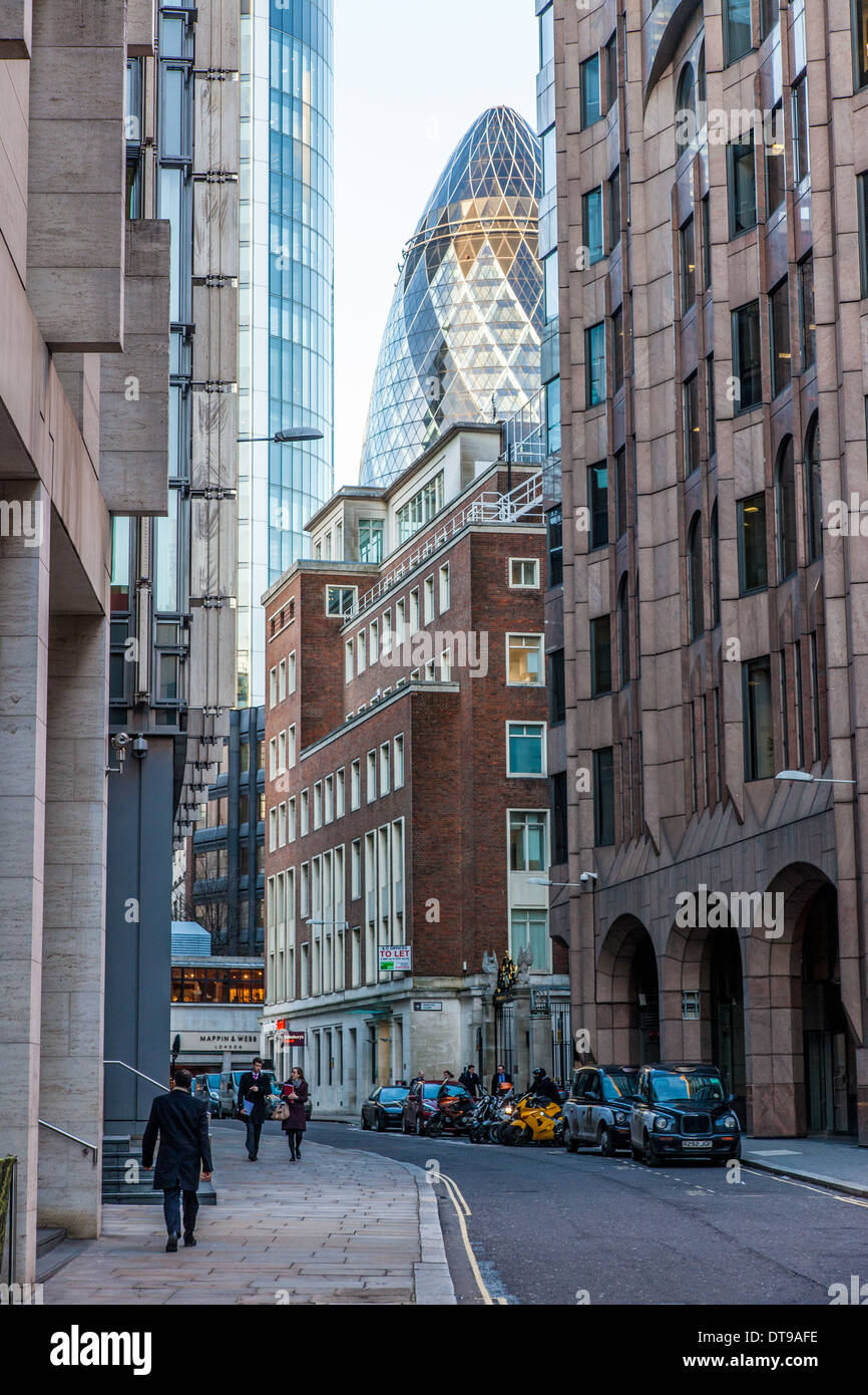 The City Of London with the Gherkin London UK - Stock Image