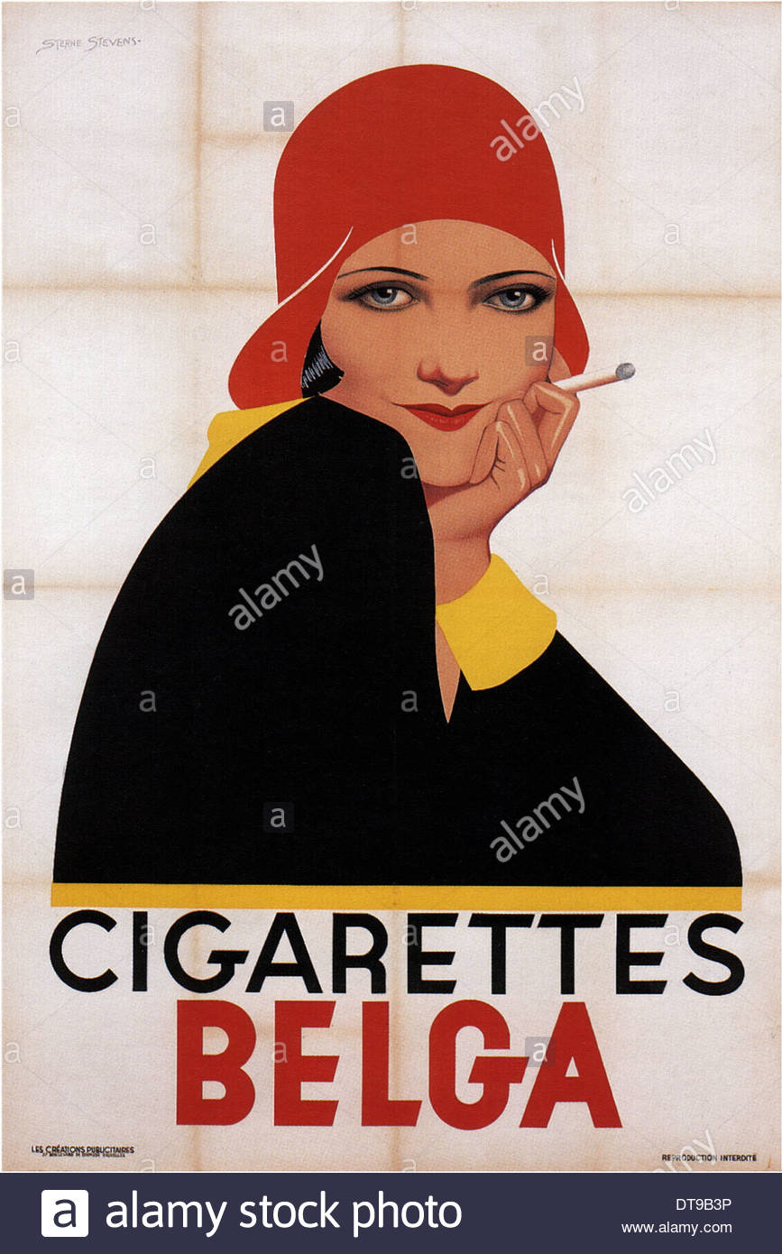 Cigarettes Belga, 1930. Artist: Stevens, Lawrence Sterne (1884-1960) - Stock Image