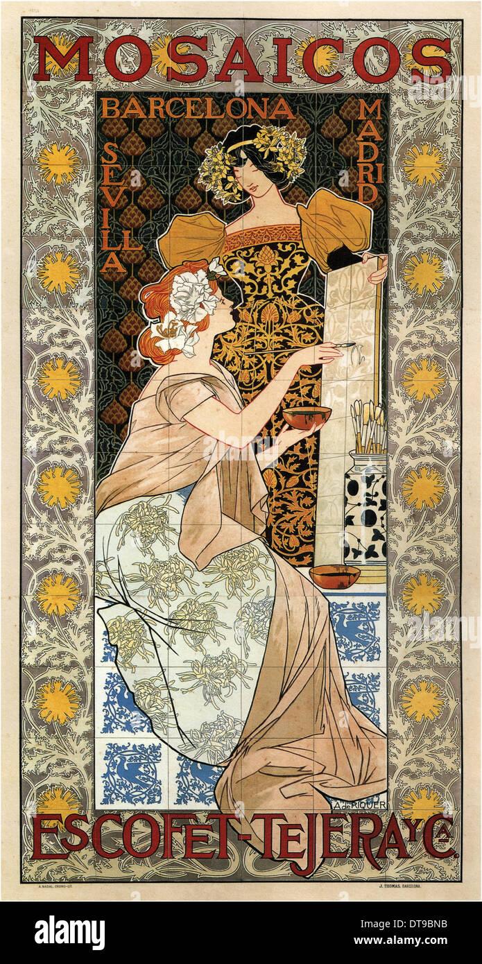 Mosaicos Escofet-Tejera (Advertising Poster), 1900. Artist: Riquer Inglada, Alejandro de (1856-1920) - Stock Image
