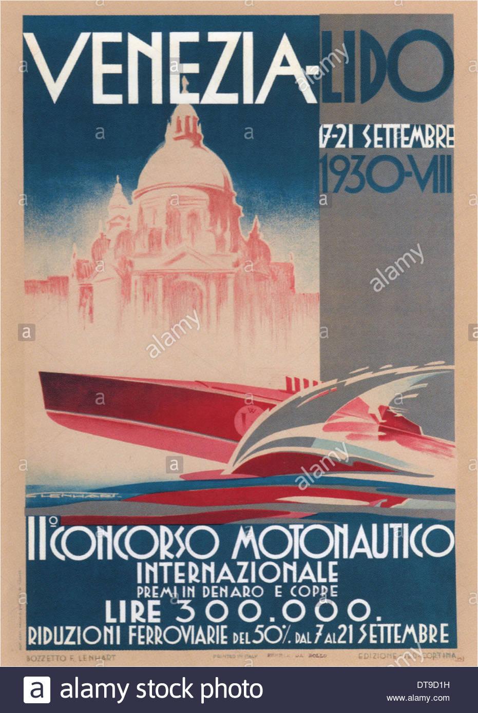 Motorboats International Competition, 1930. Artist: Lenhart, Franz (1898-1992) - Stock Image