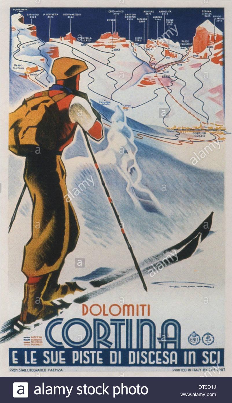 Cortina Dolomiti, 1930. Artist: Lenhart, Franz (1898-1992) - Stock Image