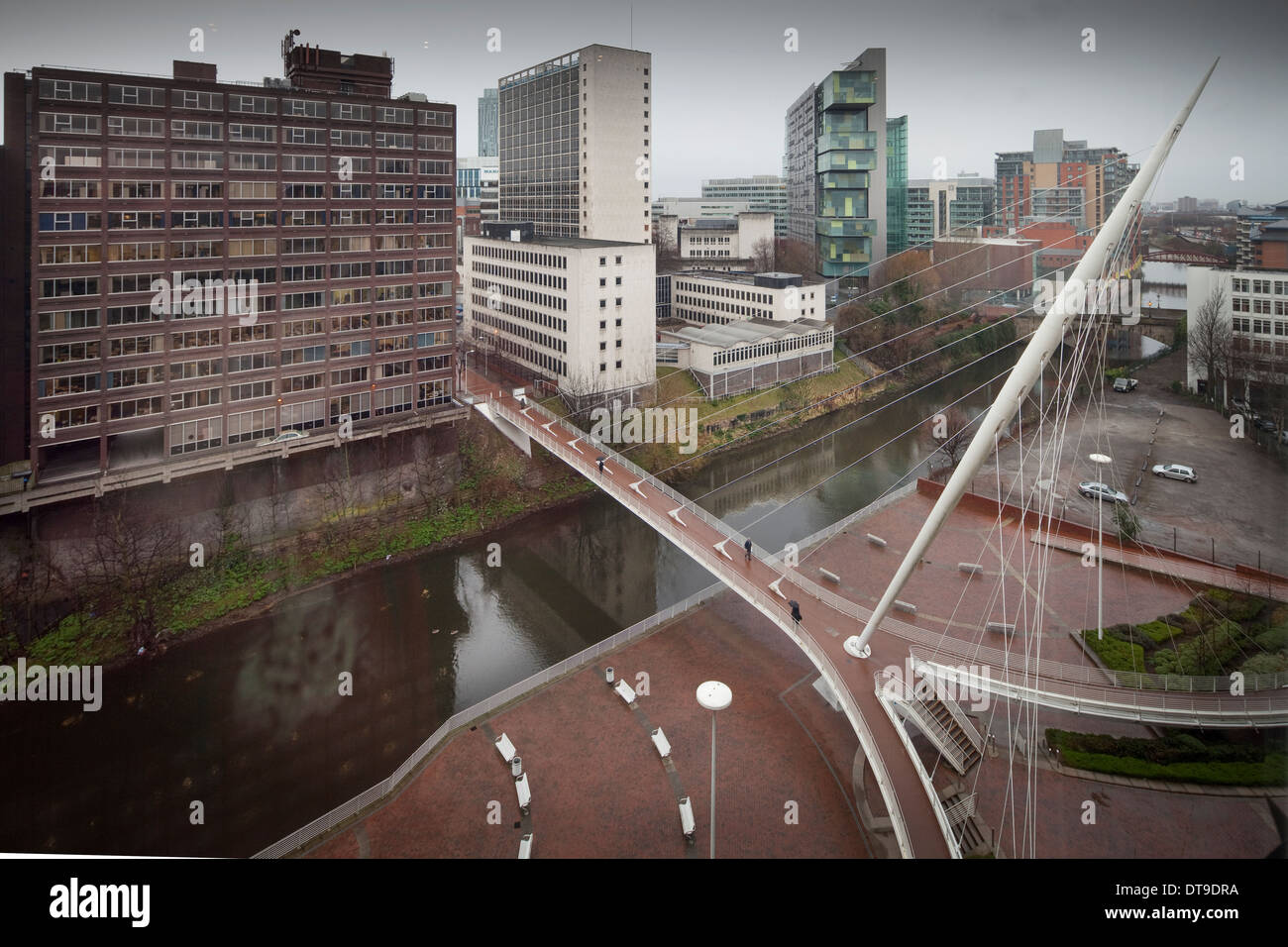 Trinity bridge taken from the Lowry hotel in Salford as it bridges the River Irwell over to Manchester city centre - Stock Image