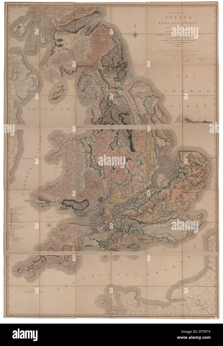 Delineation of the Strata of England and Wales with a Part of Scotland (The first geological map of  Artist: Smith, William (176 - Stock Image