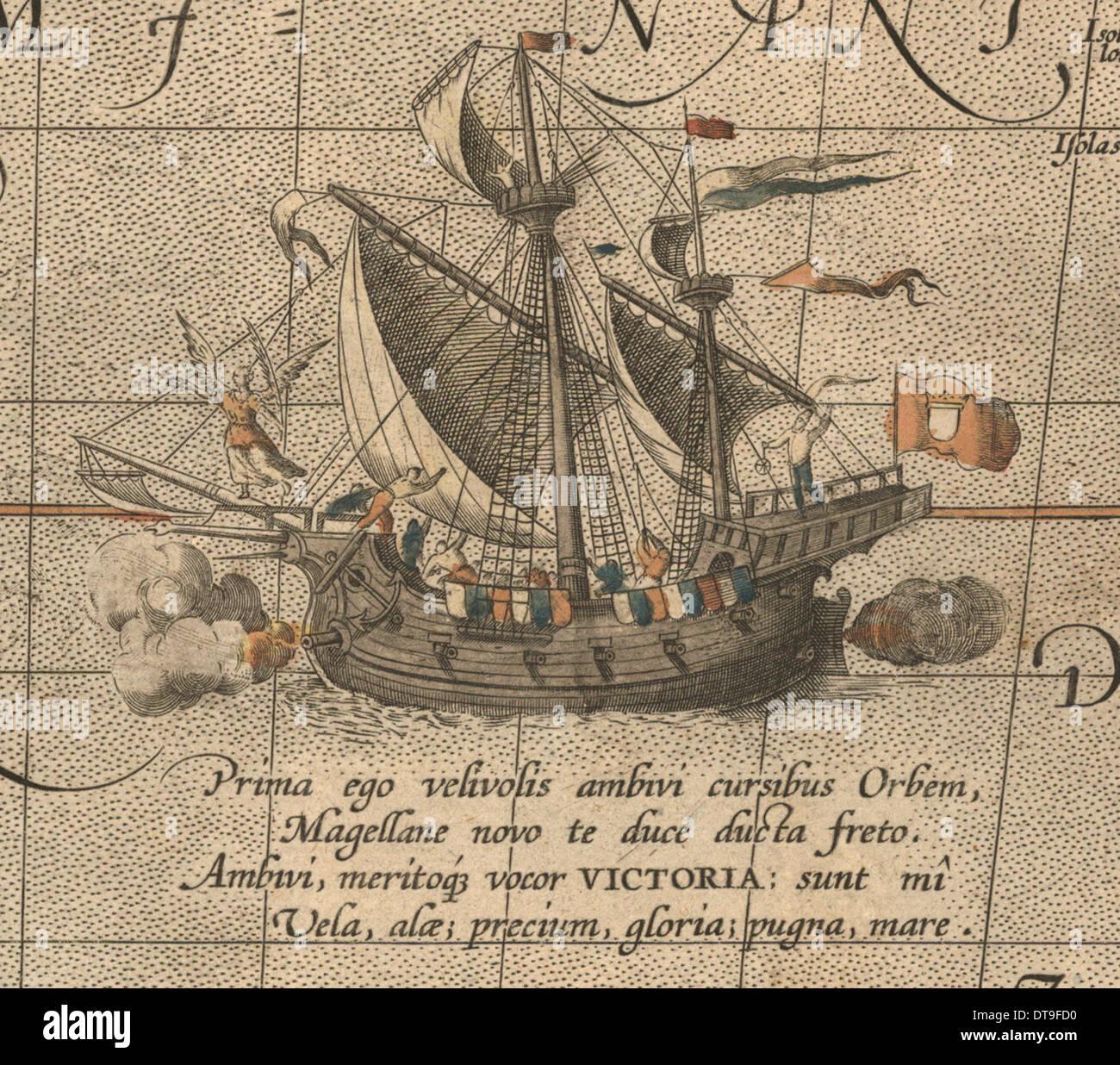 The Victoria, a Spanish carrack, ship of Ferdinand Magellan?s Armada de Molucca. (Aus Maris Pacific Artist: Ortelius, Abraham - Stock Image