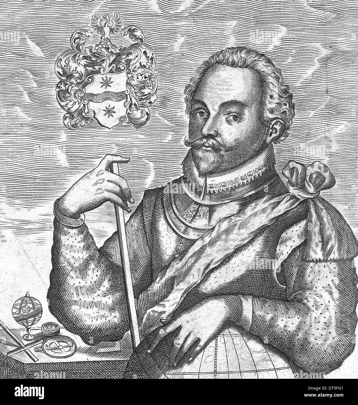Portrait of Sir Francis Drake. (Frontispiece from The World Encompassed), 1628. Artist: Anonymous - Stock Image