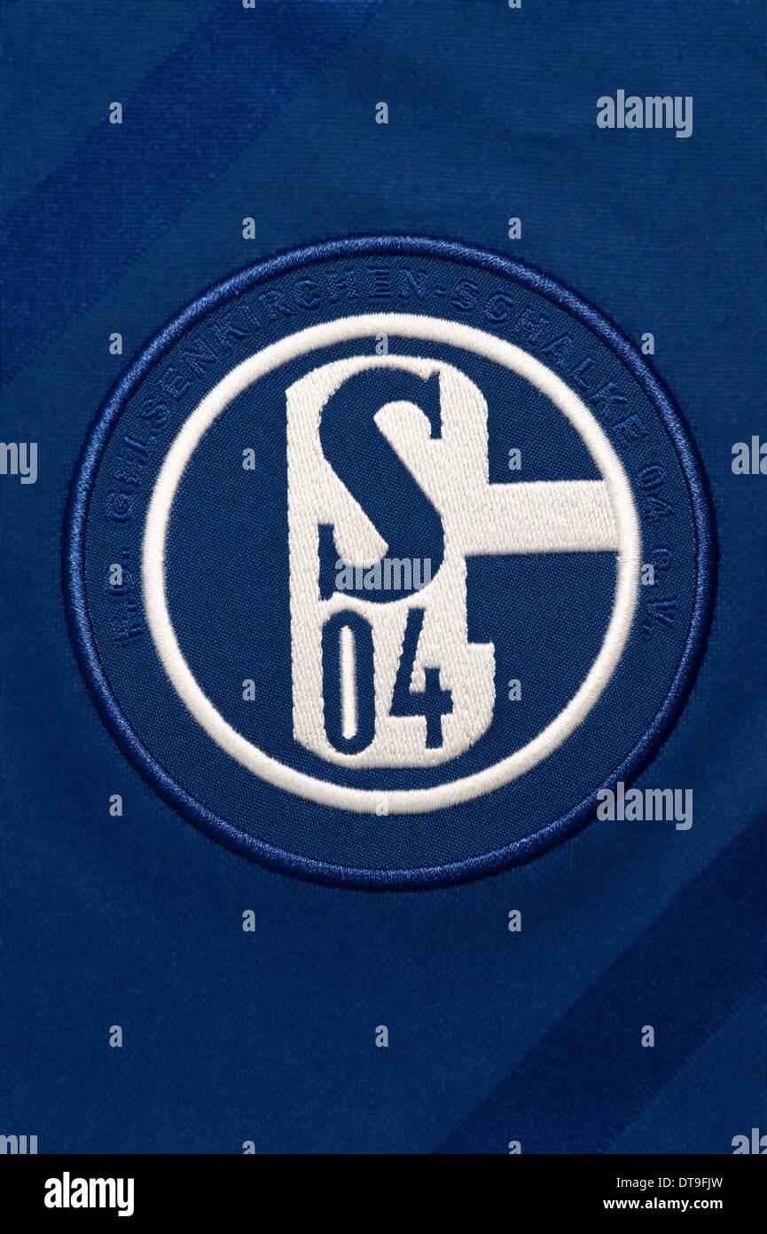 Close up of the FC Schalke 04 football team kit - Stock Image