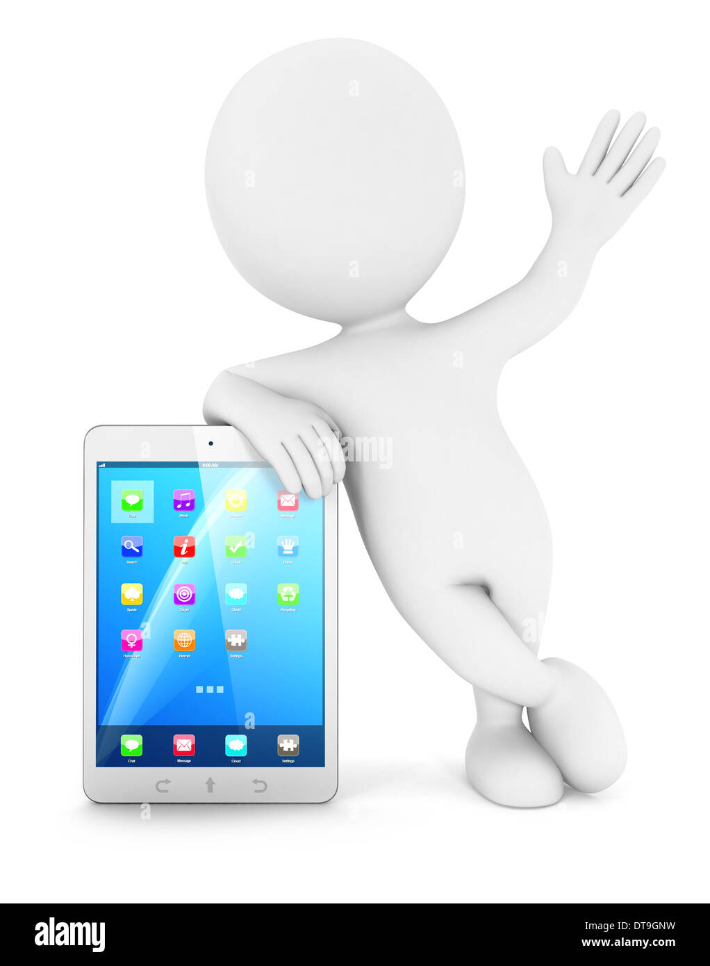 3d white people with a tablet, isolated white background, 3d image Stock Photo