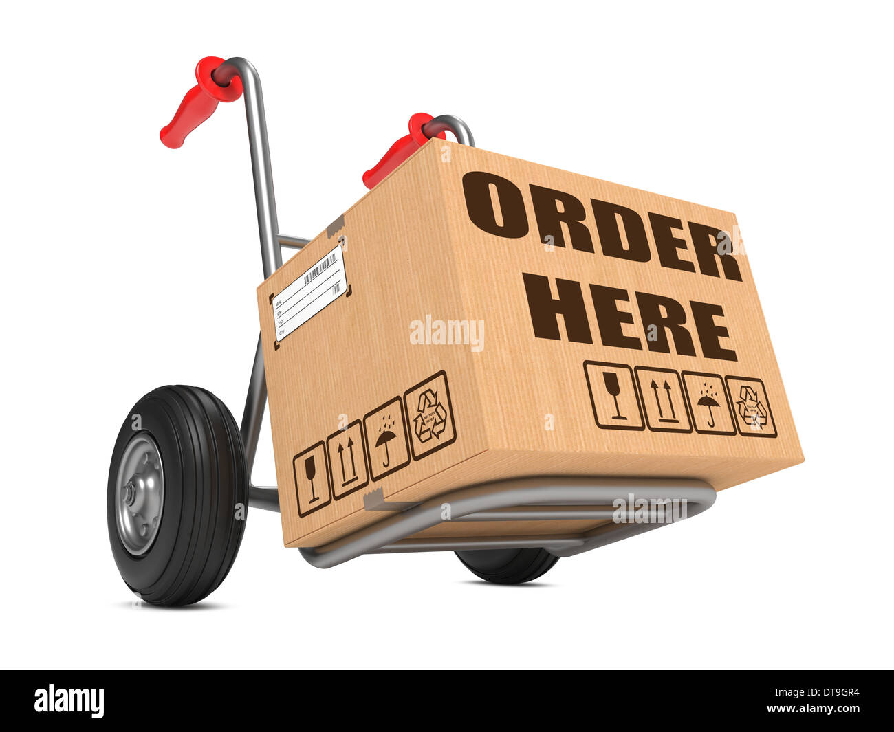 Order Here - Cardboard Box on Hand Truck. Stock Photo