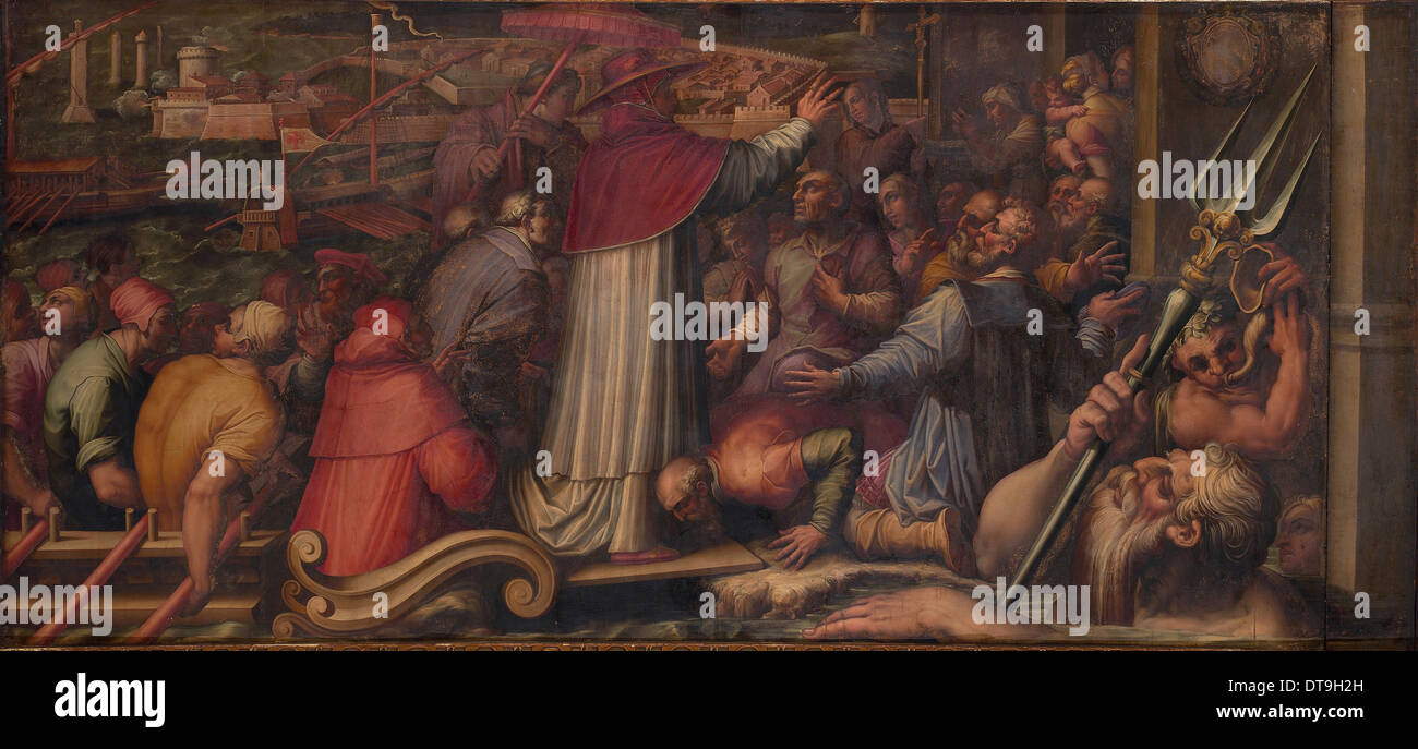 Pope Eugene IV disembarks at Leghorn to take refuge in Florence, 1563-1565. Artist: Vasari, Giorgio (1511-1574) - Stock Image