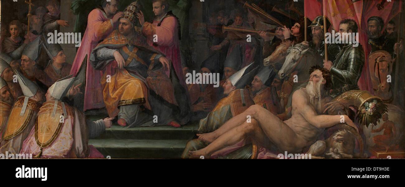 The election of Giovanni de' Medici to papacy, 1555-1562. Artist: Vasari, Giorgio (1511-1574) - Stock Image