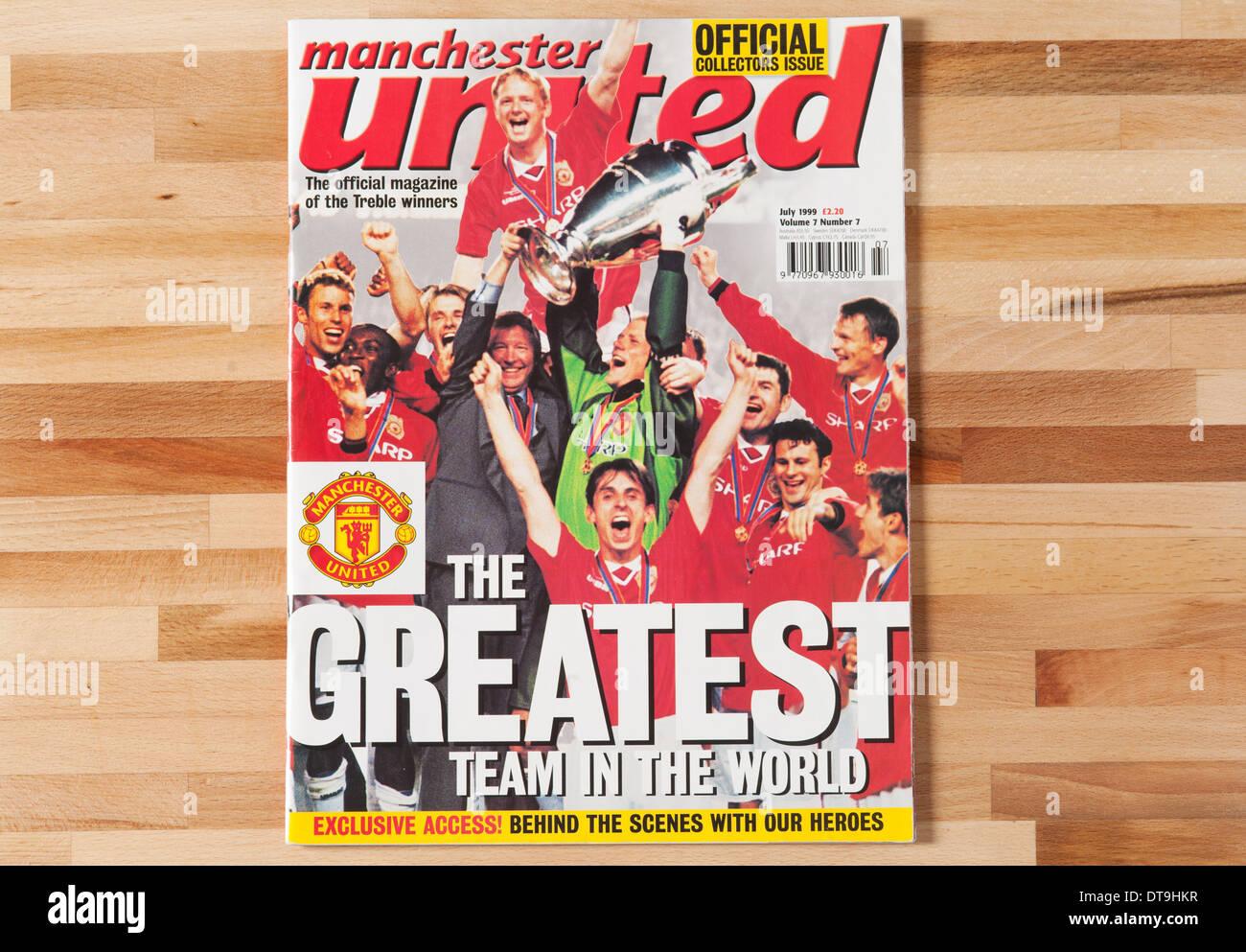 Manchester United Magazine. The Treble 1999. - Stock Image