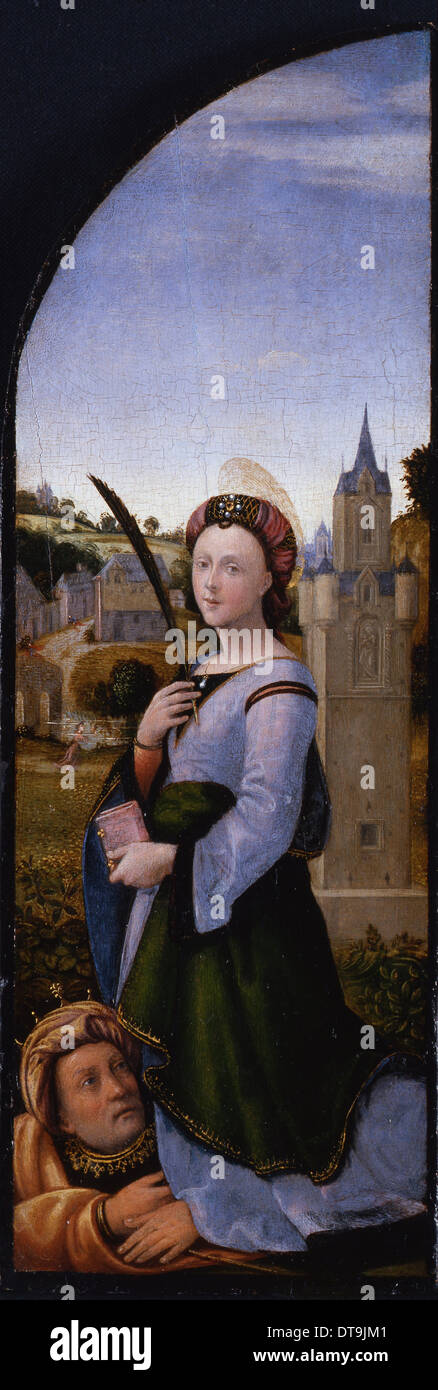 Triptych: Saint Barbara and her father Dioscurus, 1500. Artist: Albertinelli, Mariotto (1474-1515) - Stock Image