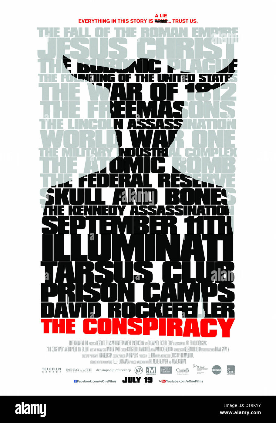 MOVIE POSTER THE CONSPIRACY (2012) - Stock Image