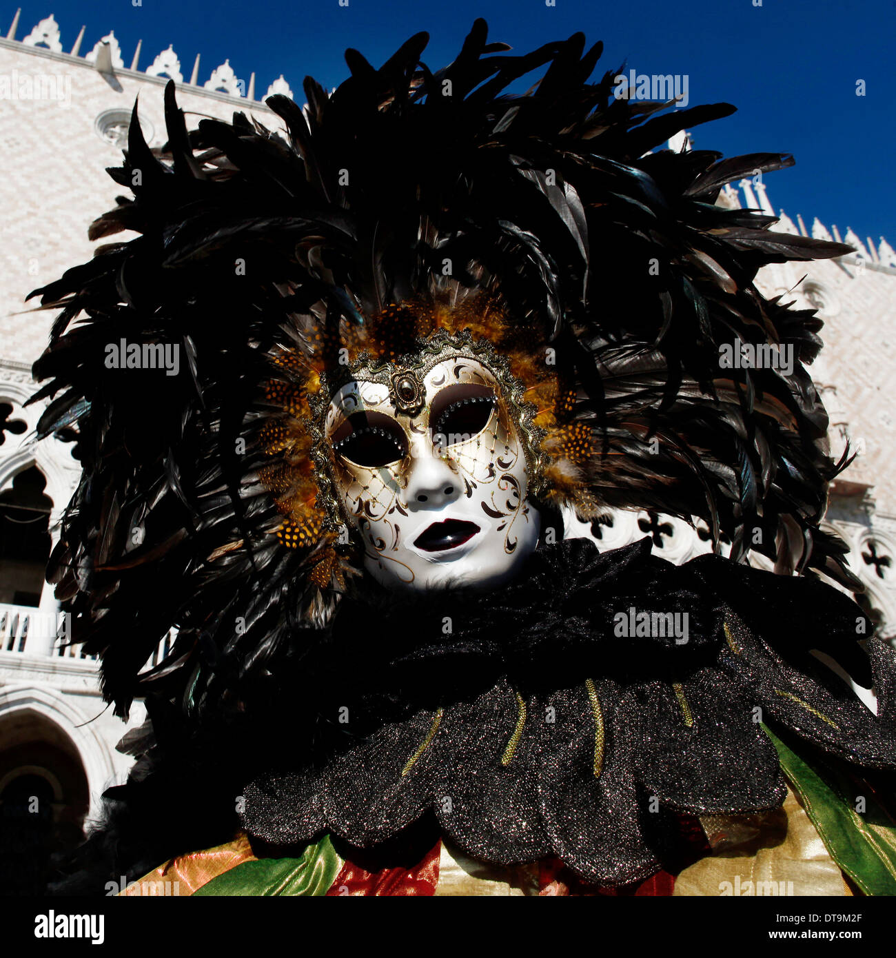 A feathered mask at Carnival of Venice Stock Photo