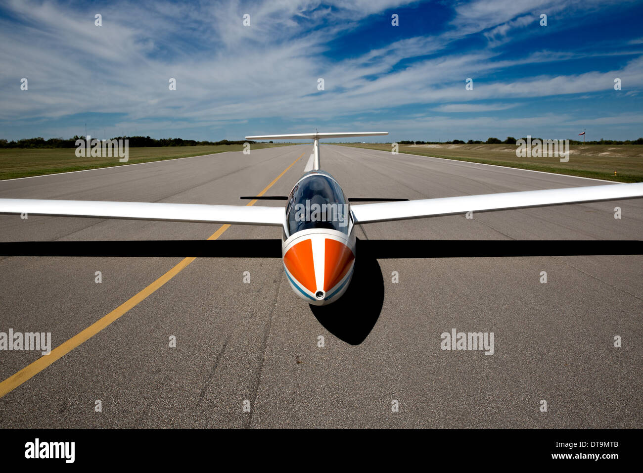 Front view of a Sailplane on the runway - Stock Image