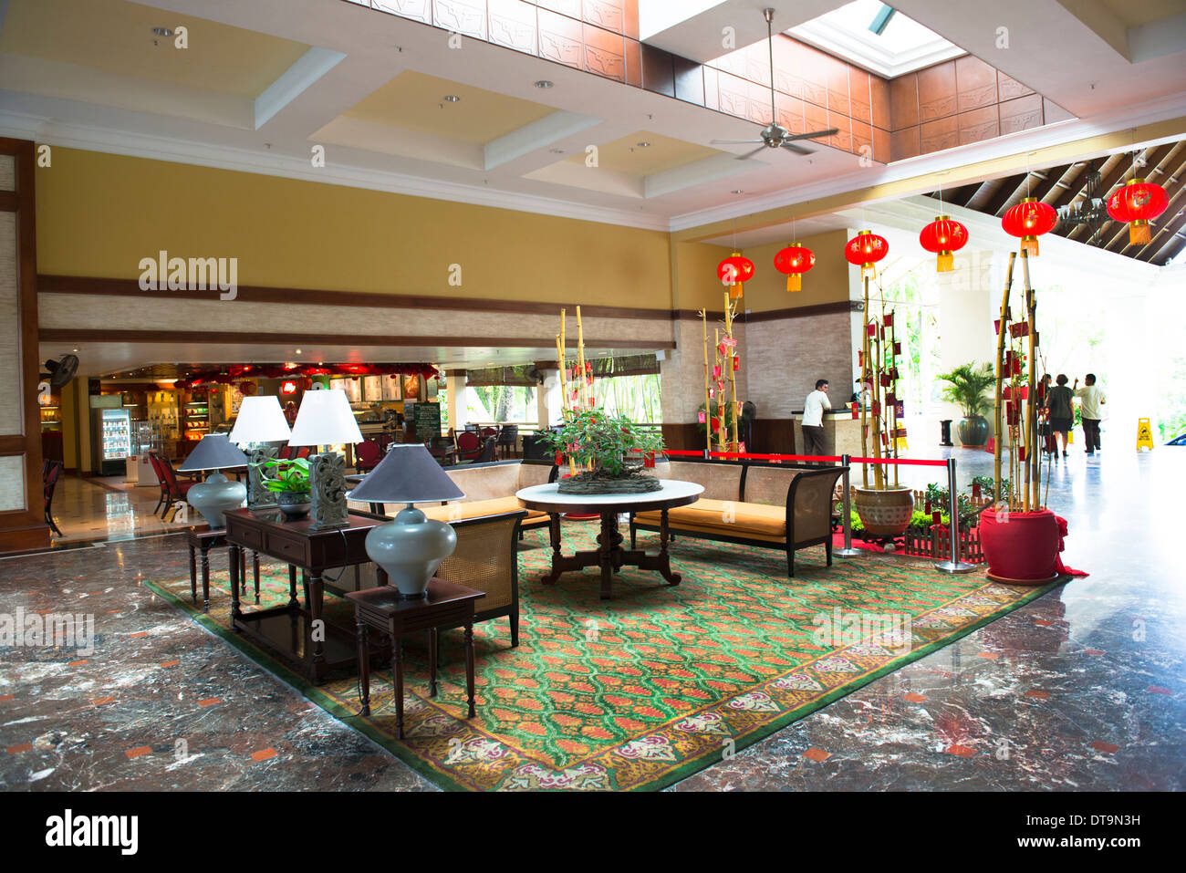 The lobby of the Marriot resort and spa in Miri, Malaysia. - Stock Image