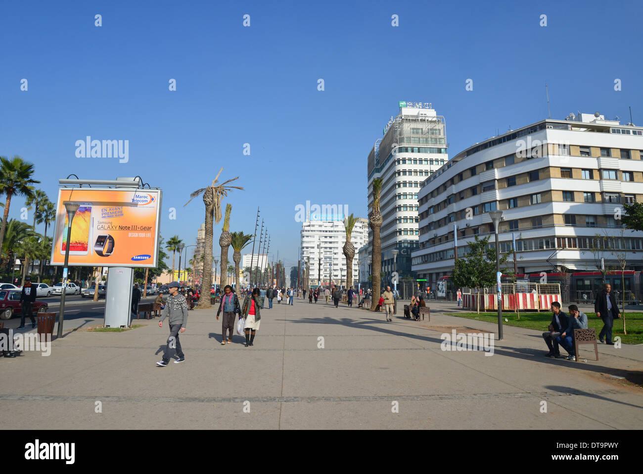 Place des Nations Unies, Casa-Anfa District, Casablanca, Grand Casablanca Region, Kingdom of Morocco - Stock Image