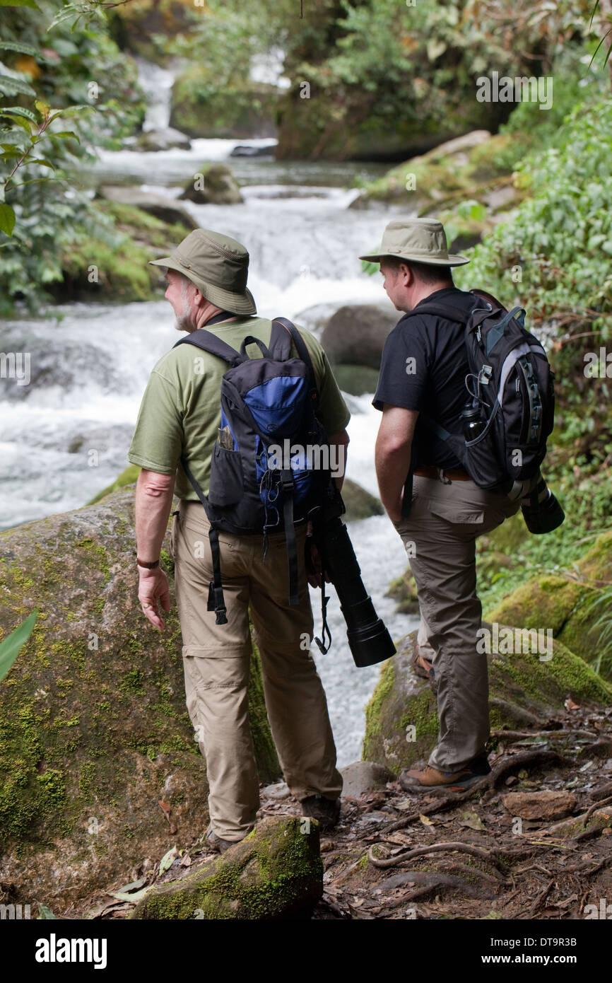Eco-tourist Photographers. Savegre River. Rainforest. Talamanea Mountains. Costa Rica. Central America. - Stock Image