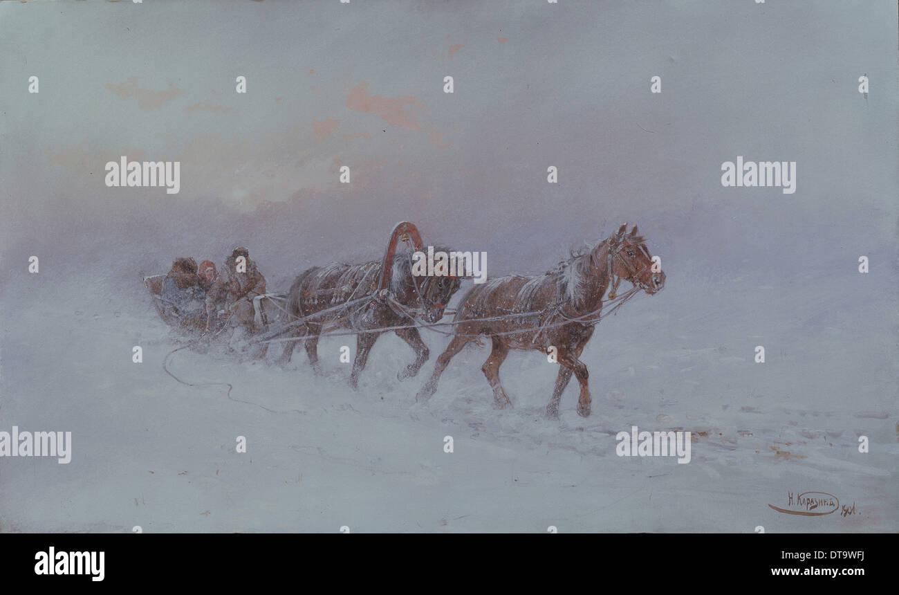 Snowstorm, 1901. Artist: Karasin, Nikolai Nikolayevich (1842-1908) - Stock Image