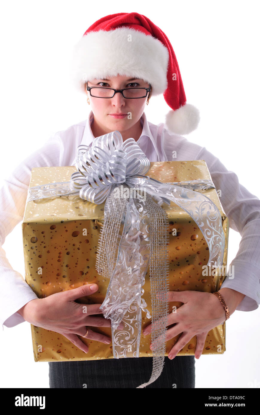 Office santa girl with present isolated on white Stock Photo