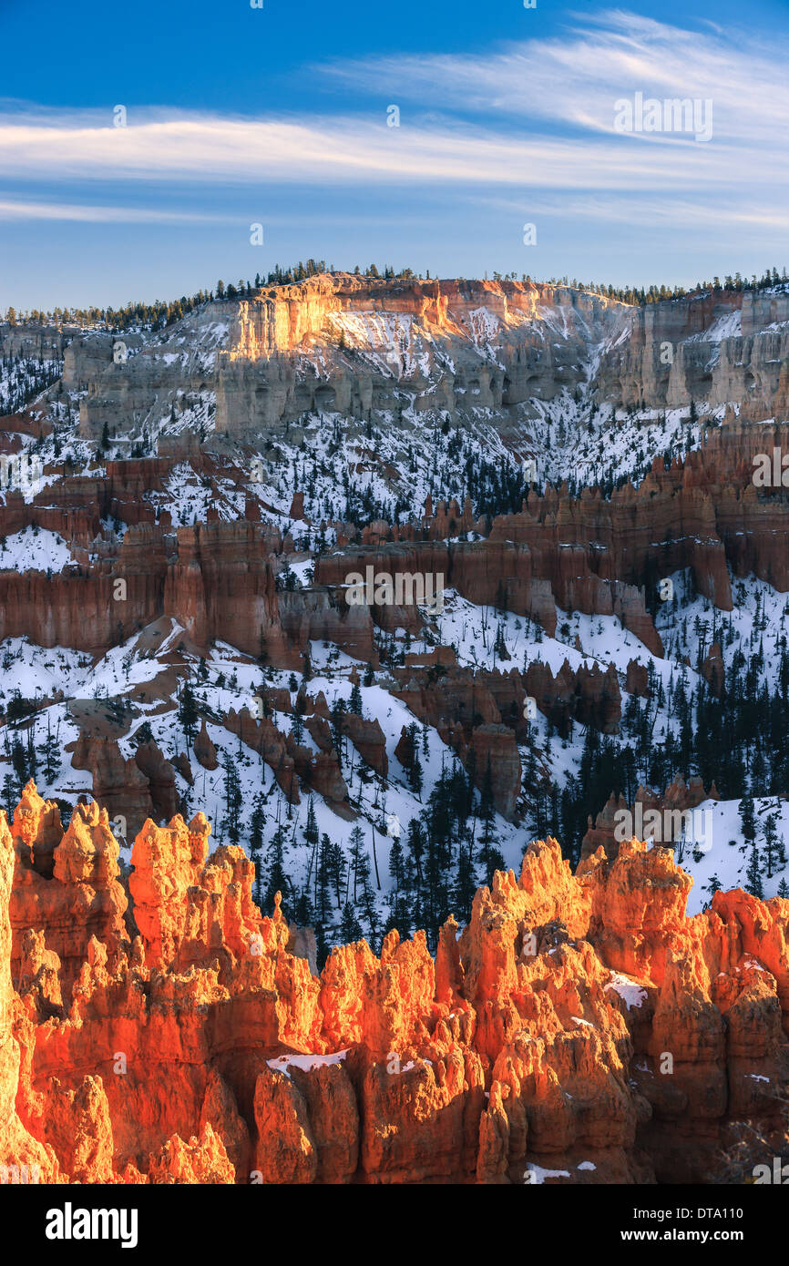 Winter sunset in Bryce Canyon National Park, Utah - USA - Stock Image