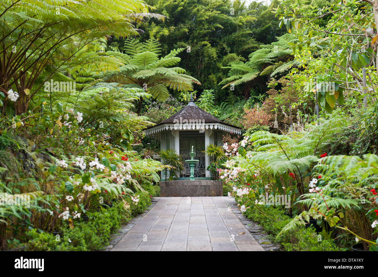 Creole architecture, garden with a fountain, gazebo, Maison Folio, tropical vegetation with Tree Ferns (Cyatheales) - Stock Image