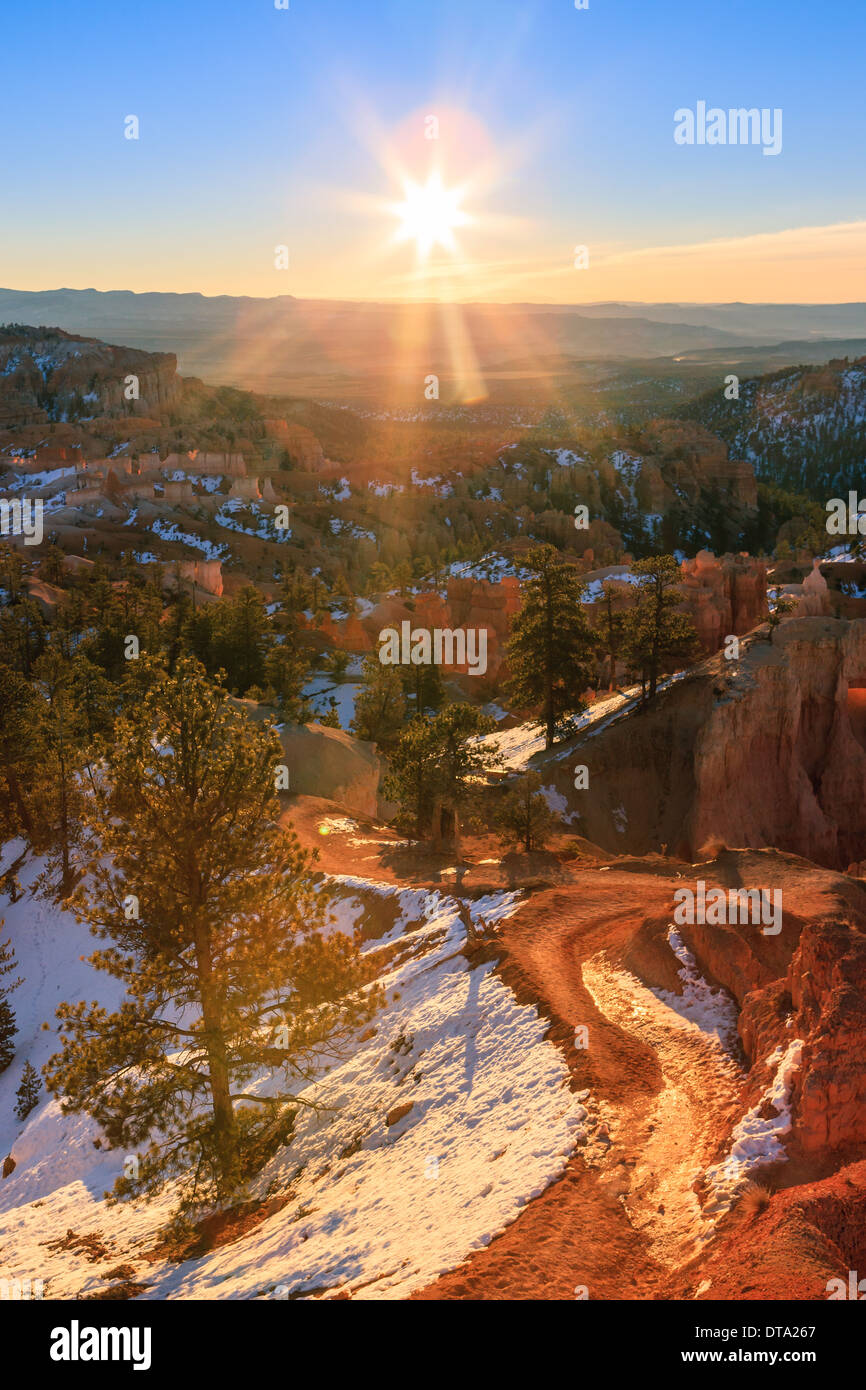 Winter sunrise in Bryce Canyon National Park, Utah - USA - Stock Image