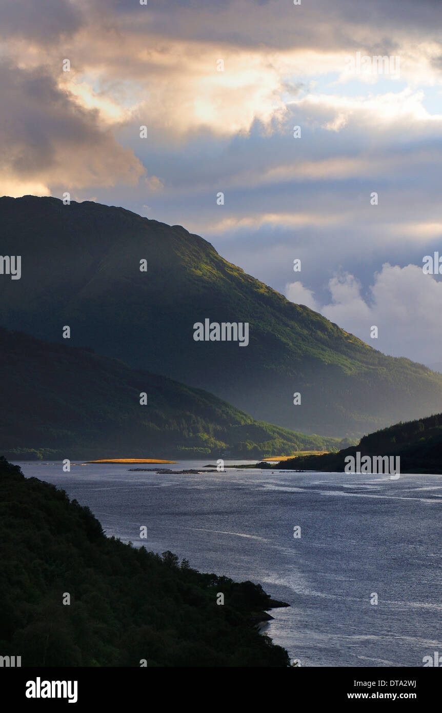 Atmospheric clouds over Loch Leven, Glen Coe, Ross Skye and Lochaber, Scottish Highlands, Scotland, United Kingdom - Stock Image