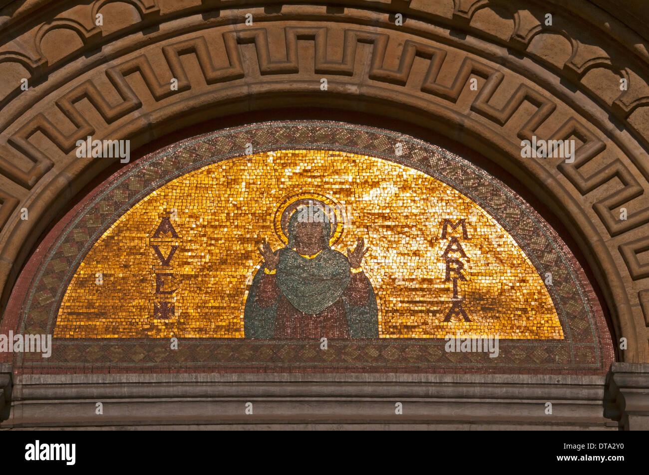 Tympanum of Église Royale Sainte-Marie, Koninklijke Sint-Mariakerk or St. Mary's Royal Church, Schaerbeek, Schaarbeek, Brussels - Stock Image