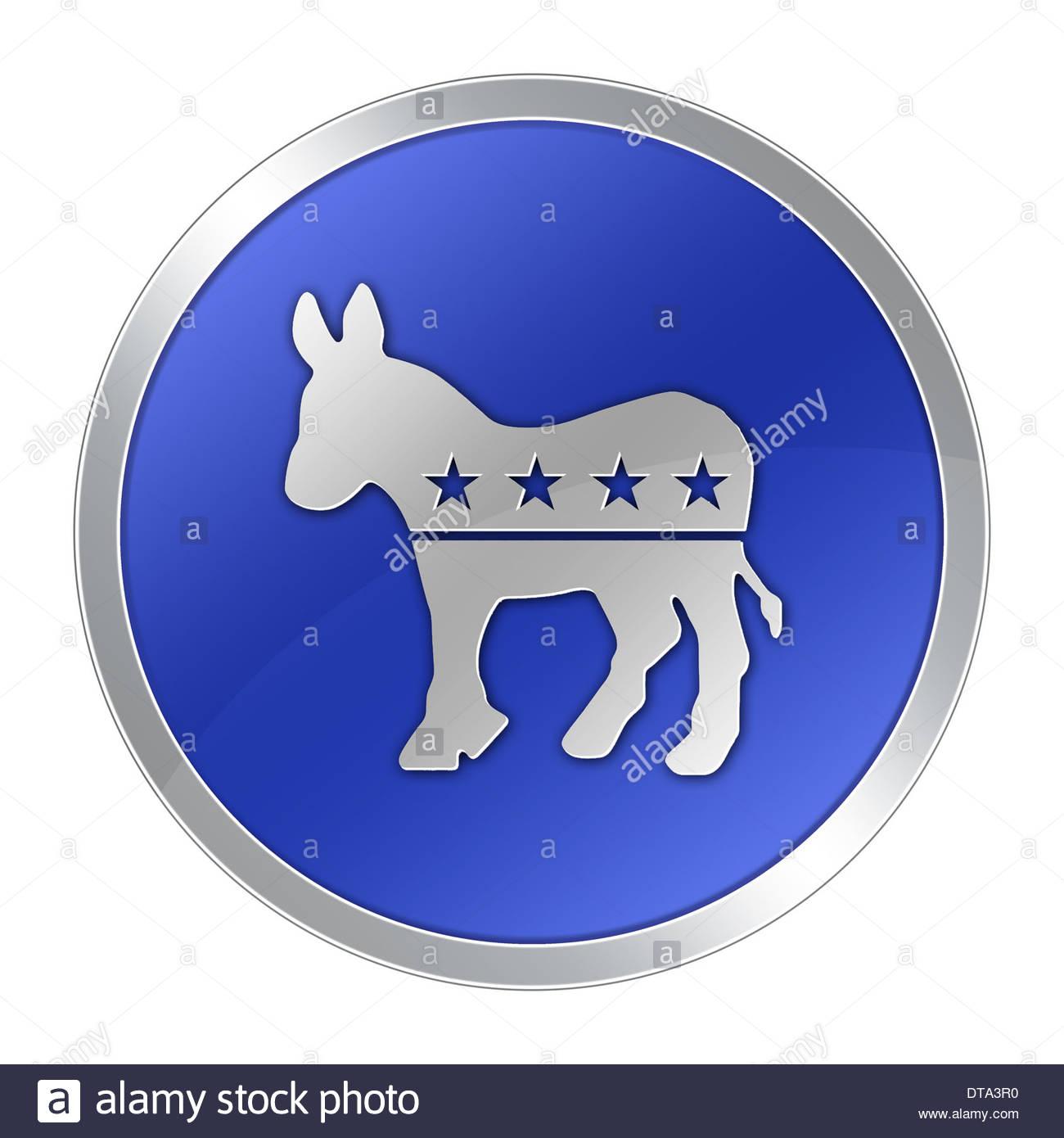Democratic Party icon logo donkey politics - Stock Image