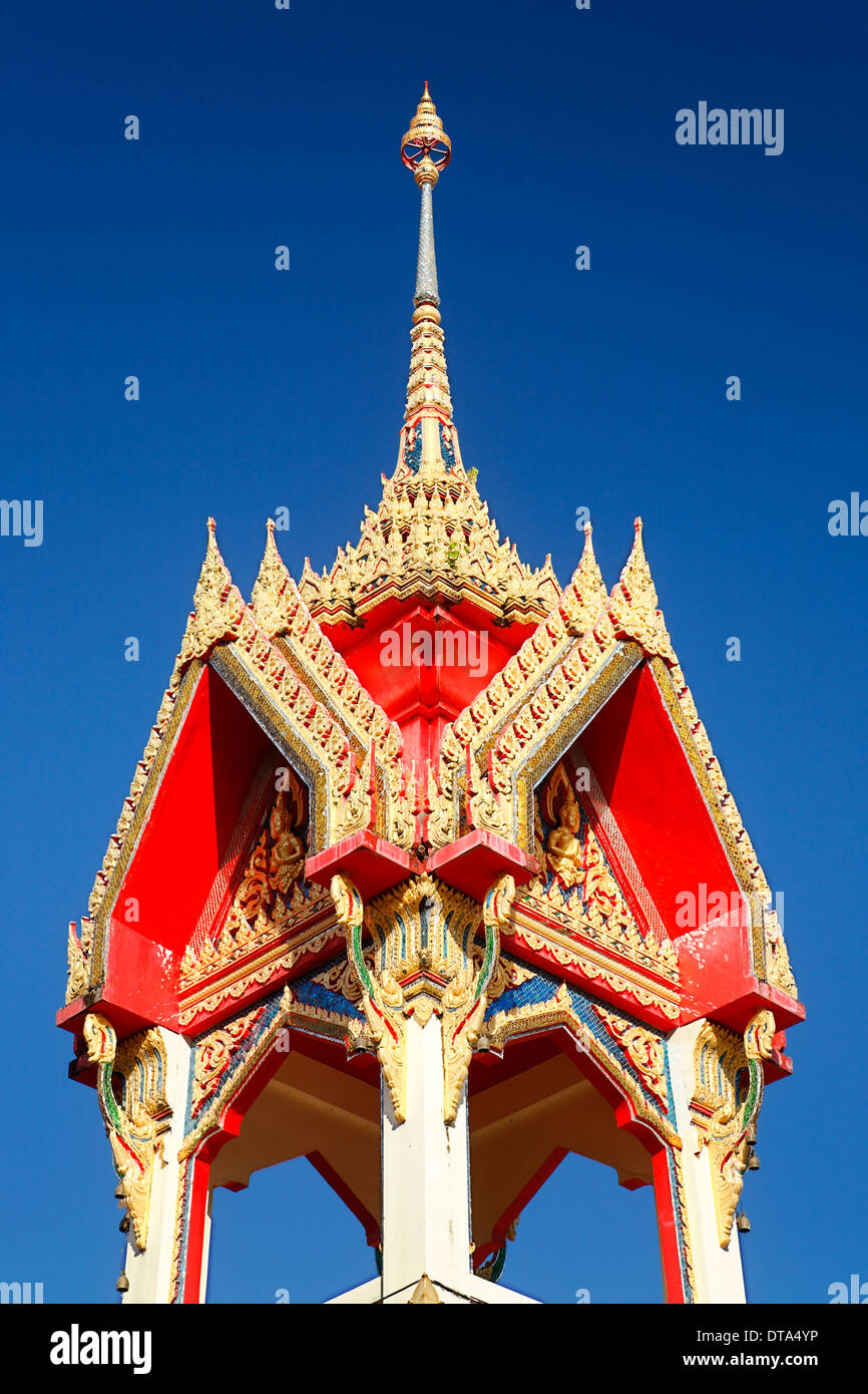 Ornate roof of a spire, Wat Chalong temple, Phuket, Thailand - Stock Image