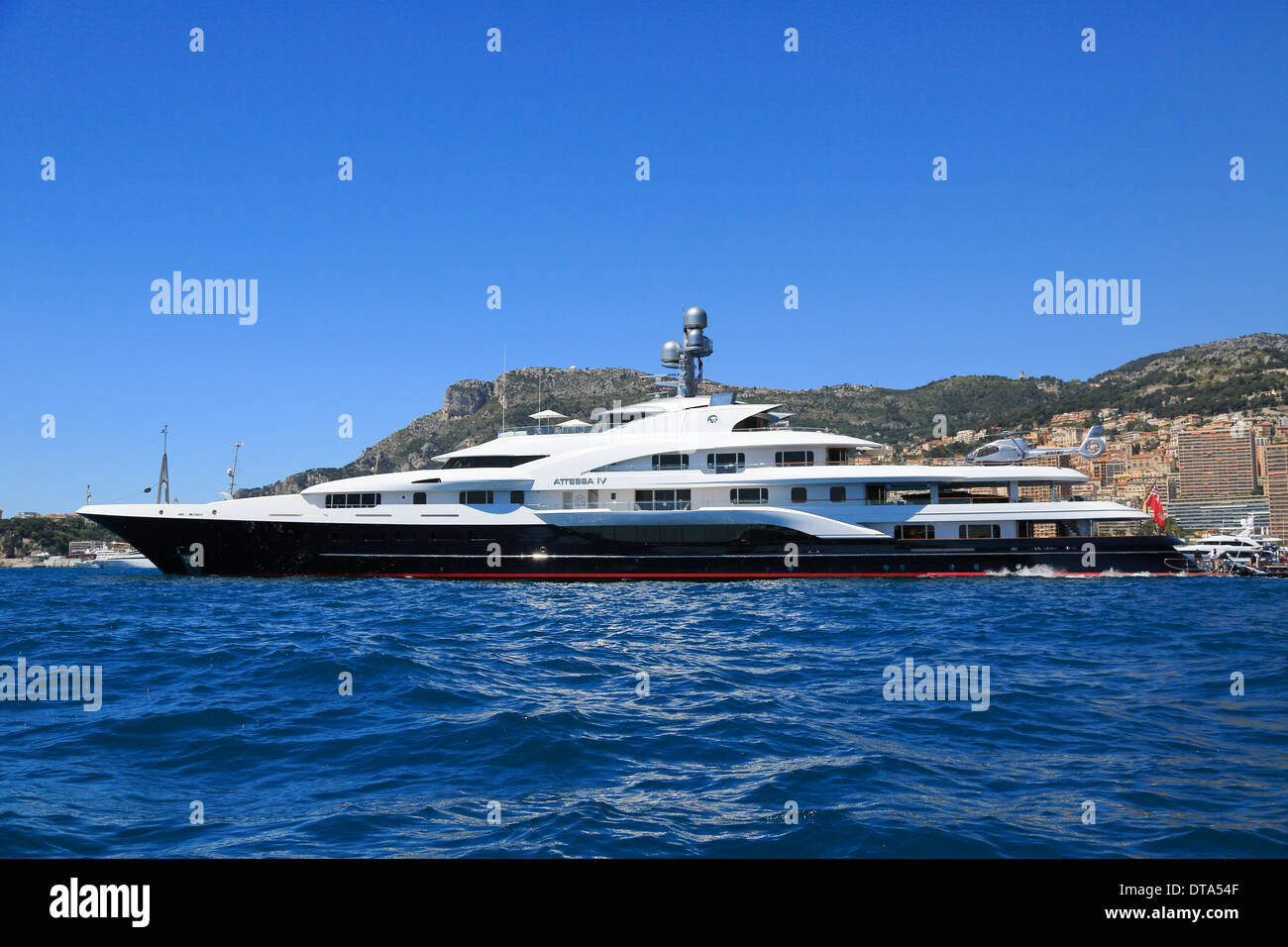 Motor Yacht Attessa Iv Ex Evergreen At Anchor In Front Of The