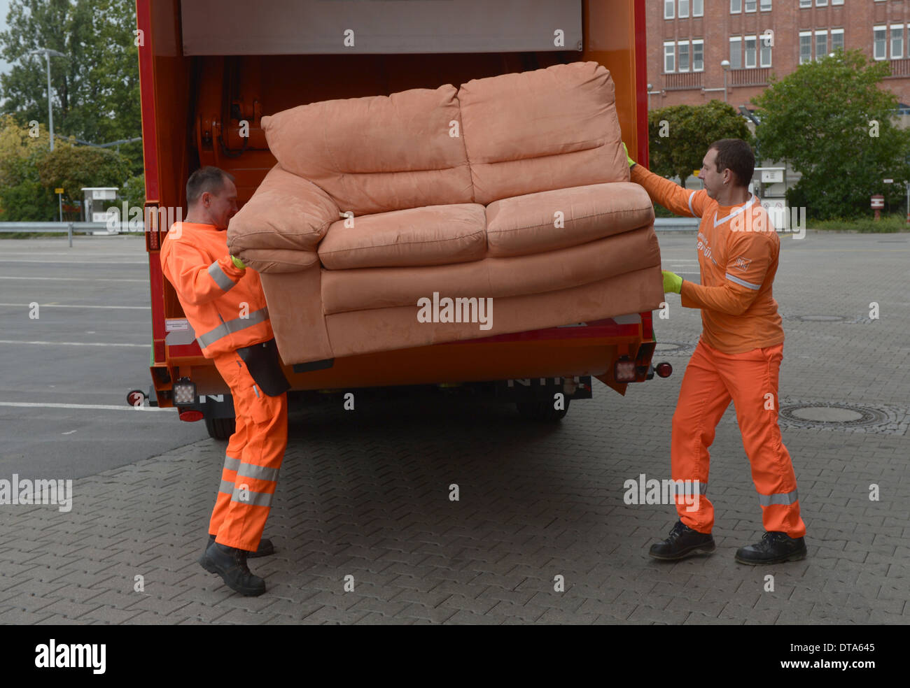 Berlin, Germany, BSR Staff Invite An Old Sofa   Stock Image